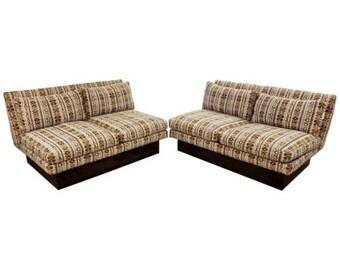 Mid Century Modern Baughman for Thayer Coggin 2 Piece Plinth Base Sectional Sofa