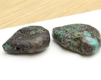 Natural Genuine Turquoise Teardrops Large Stones 24x18x8 2pcs