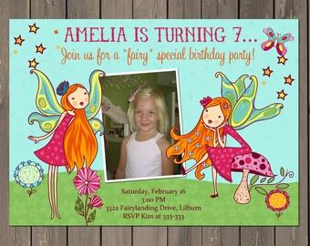 Fairy Invitation, Fairy Birthday Party Invitation, Fairy Garden Party, Woodland Fairy Invite, Photo Invitation, Printable or Printed