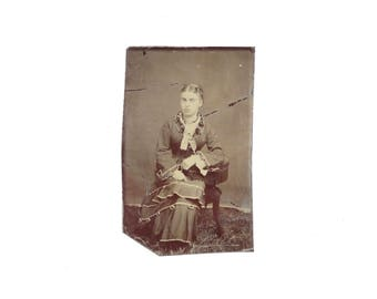 Vintage Tintype Photo of Woman Outdoors in Grass  / Victorian Era Tintype Photograph