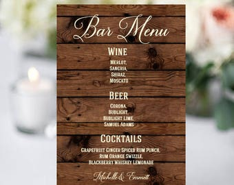 Wedding Bar Sign, Bar Menu Template, Bar Menu Sign, Printable Sign, DIY