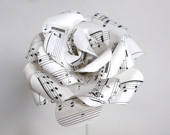 Music Rose,  vintage sheet music paper rose, upcycled paper decoration, paper flower