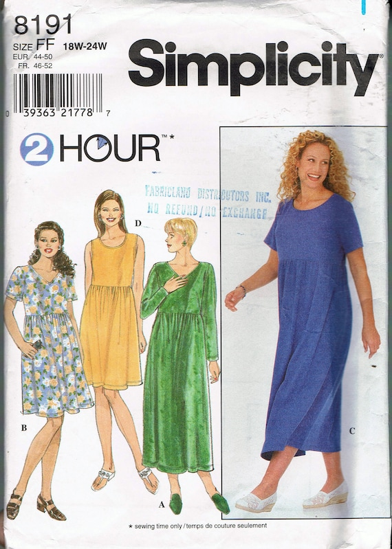 Size 18 24 Misses Plus Size Dress Sewing Pattern Pullover Empire