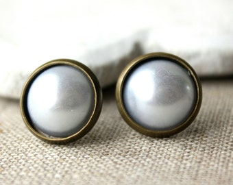 White pearl Earrings STUD or Clip Ons, pearl clipons, white clips, domed studs 12mm cabochon, bridesmaid wedding clip earrings E524
