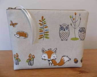Toiletries Bag, Toiletry Travel Wash Bag, Large Make Up Case, Woodland Fox Cotton Fabric, Animal Zipper Pouch, Cosmetics Purse, Waterproof