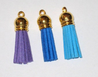 3 charm suede tassel, blue, purple