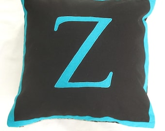 Black and turquise blue monogram pillow cover 18 inch. monogrammed pillow,alphabet pillow.