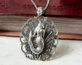 Antique Silver Mermaid Necklace Fantasy Brass Shell Women For Her Art Nouveau