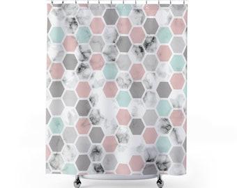 Marble,  Geometric Shape, Shower Curtains, bath decor