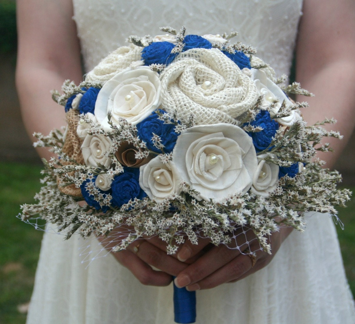 Cobalt blue wedding bouquet royal blue sola bouquet zoom junglespirit