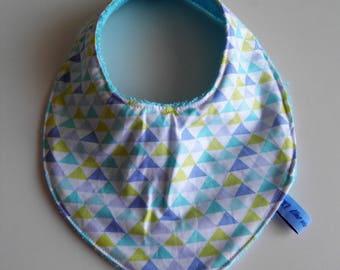 "Bavoir bandana "" triangles bleus """