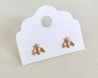 Dainty Gold Bee Stud Earrings - hypoallergenic 14k Gold filled - good luck - prosperity