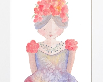 Girl With Hibiscus In Her Hair, woman, wall hanging, art print, illustration