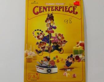 Hallmark Clown Parade Centerpiece , Party Table Decoration, Birthday Party Decor, Clown Theme, Circus, Party Supply, Vintage Paper, 1979