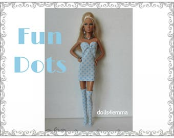 OOAK Model Muse Barbie Doll Clothes - FUN DOTS Sexy Dress Thigh-Highs and  Jewelry Set - Custom Fashion - by dolls4emma