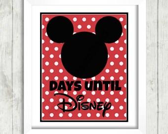 Days Until Disney 8x10 Instant Download Printable Mickey Minnie Cruise Disneyland World Vacation Countdown Print