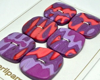 Handmade Square Buttons Purple Pink Coral  24mm