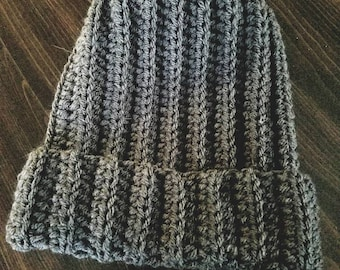 Unisex Crocheted Ribbed Hat
