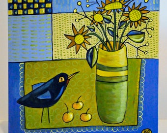 Folk Art Bird Painting - Still Life Painting - Acrylic Painting - Blue and Green Painting - Bird Art - Bird Lovers - Folk Art Painting