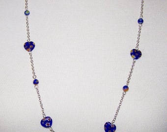 Blue Heart Necklace,  Millefiori Beaded necklace, Silver Necklace, Gift for Her, Valentines Day, Free Shipping