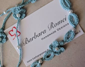 Crochet necklace Boho Lariat blue sky flowers and beads sky blue crochet lariat Necklace