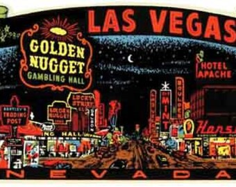 Vintage Style Las Vegas at night Nevada     1950's   Travel Decal sticker
