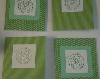 Set of four dragon thank you blank notecards green
