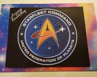 Handmade Star Trek Inspired Birthday Card - Star Fleet