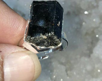 Black Tourmaline Natural Stone Adjustable Finger Ring For  protection against negative energy