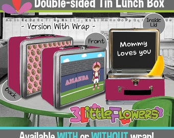 Personalized Football Lunchbox - Personalized Metal Lunch Box Chalkboard inside - Double-sided Tin Lunch Box - Personalized Sport Lunchbox
