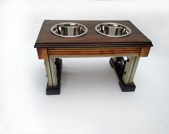 Elevated Double Bowl Pet Feeder: Dark Stained Top with Decorative Trim and Black Scroll Work