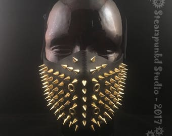 Handmade Black Leather Super Spiked Half Mask