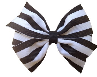 Black & white striped hair bow - hair bows, bows, hair clips, hair bows for girls, baby bows, girls bows, hairbows, hair clips for girls
