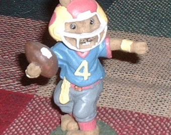 "Easter Bunny Rabbit Football Figurine 4"" tall Easter Collectible Easter Holiday NFL Quarterback"