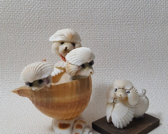 Vintage Seashell Art - Pack of Poodles - Set of 2