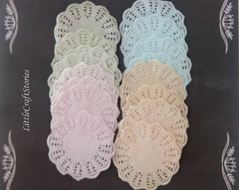 Set of 12 hand dyed lace paper doilies, Tea party doilies, Wedding doilies, Baby showers, Scrapbooks, Party decor doily