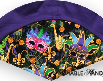 Washable Hand Fan High Inset Masks & Fleur de Lis