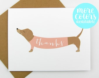 Dachshund in a Sweater Thanks Card | Thank You Card | Dachshund Card | Stationery | Set of Thank You Cards | Thanks | Thank You | Dachshund