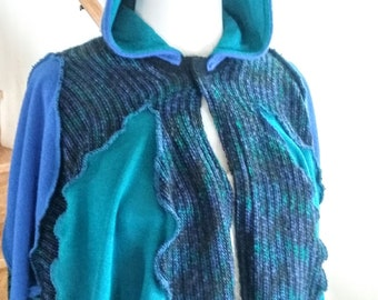 Blue and Green Child's Sweater Cape