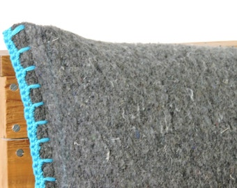 SALE, turquoise and grey pillow, repurposed blanket with crocheted edges