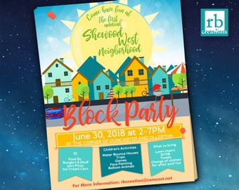 Block Party Flyer, Summer Flyer, Summer Block Party flyer, Neighborhood Party Flyer, BBQ Flyer, 8.5x11 Flyer Design - Digital Printables