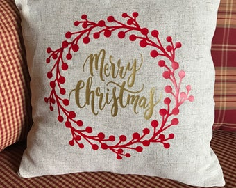 Merry Christmas Pillow Cover Christmas Pillow Case Throw Pillow Cover Merry Christmas
