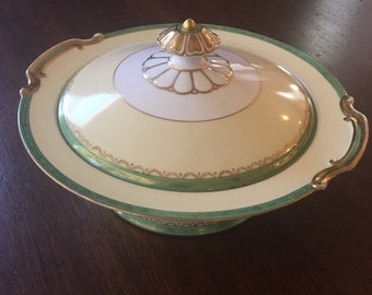 Handpainted Round Covered Vegetable Bowl in Regent Pattern by Noritake China