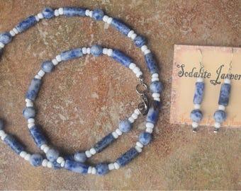 Sodalite Jasper Necklace & Earrings