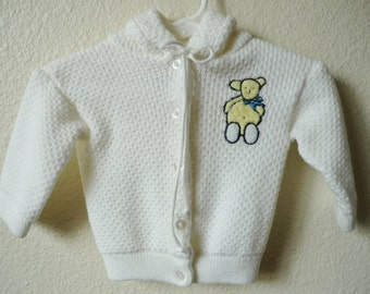 Vintage Baby Girl 80's Acrylic, Sweater, White, Hooded, Bear (3 mos)