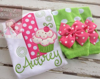 Cupcake first birthday outfit -- Cupcake Swirls -- personalized bodysuit and leg warmers in pinks and lime green