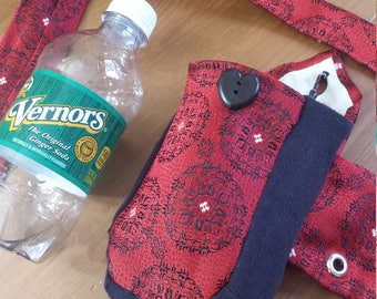 Belt Pouch - Recycled Necktie - Bottle Holder - Better Than A Fanny Pack - Upcycled Vintage - Water Bottle - Chemo Bottle/Insulin Pump