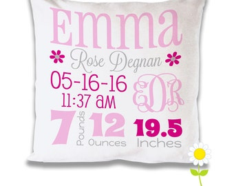 Personalize Birth Stats Pillow Cover - Monogram Birth Announcement Throw Pillow for Girls - Custom Baby Cushion - Baby Gift - Nursery Decor