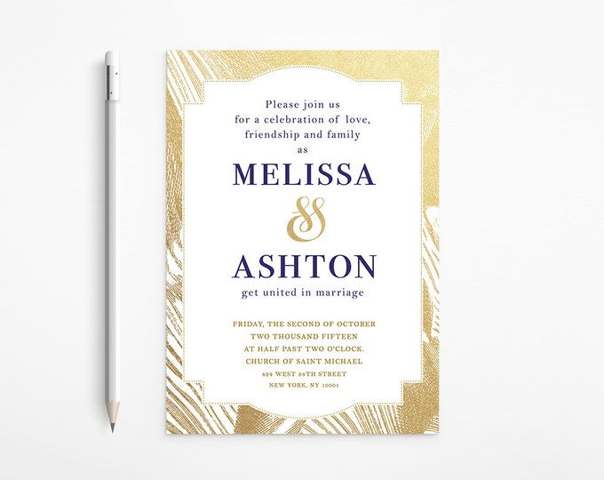 PRINTABLE - Elegant Gold and Navy Wedding Invitation - Gold - Foil - Glitter - Classic - Initials - Free changes