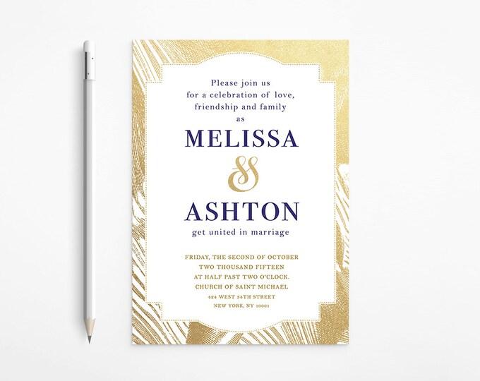 Elegant Gold & Navy Wedding Invitation, Foil, Glitter, Classic, Framed, Printable